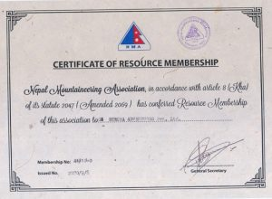 Certificate of Resource Membership